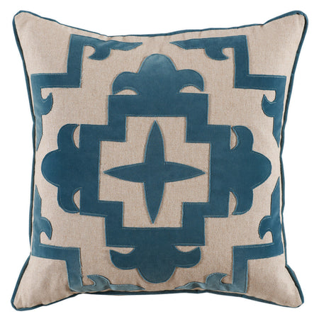 Teal Cream Appliqué Pillow