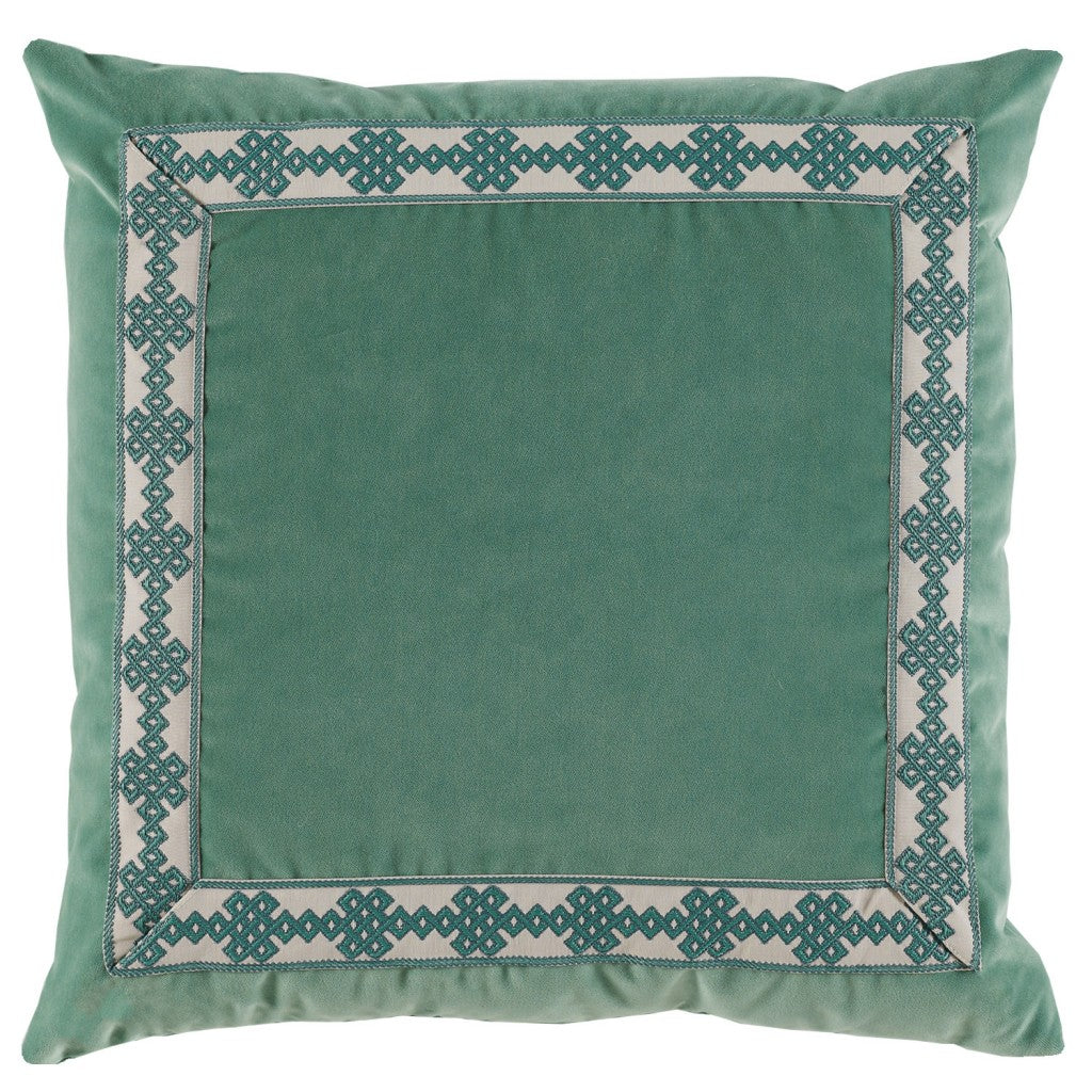 Viridian Velvet with Tape Pillow