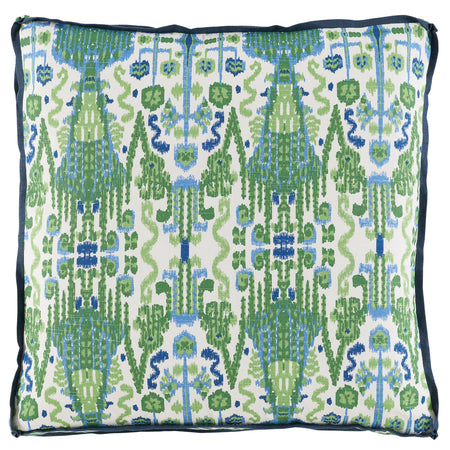Kelly Green Ikat Printed Throw Pillow