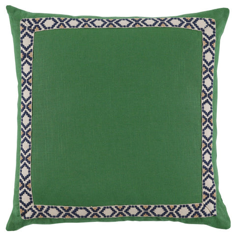 Kelly Green Linen Border Throw Pillow
