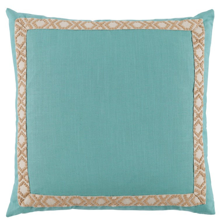 Peacock Linen with Tan Tape Pillow