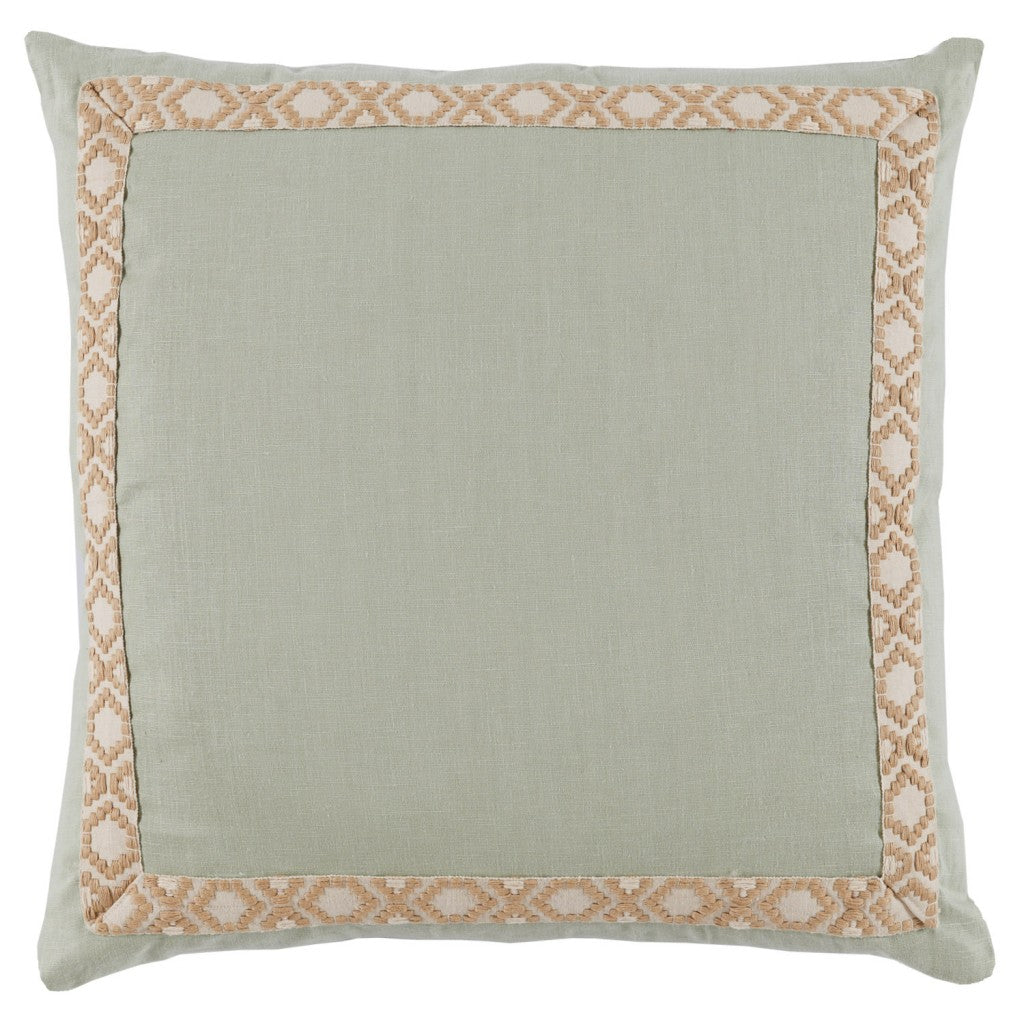 Seafoam Linen with Tan Tape Pillow