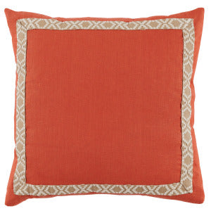 Spice Linen with Tan Tape Pillow