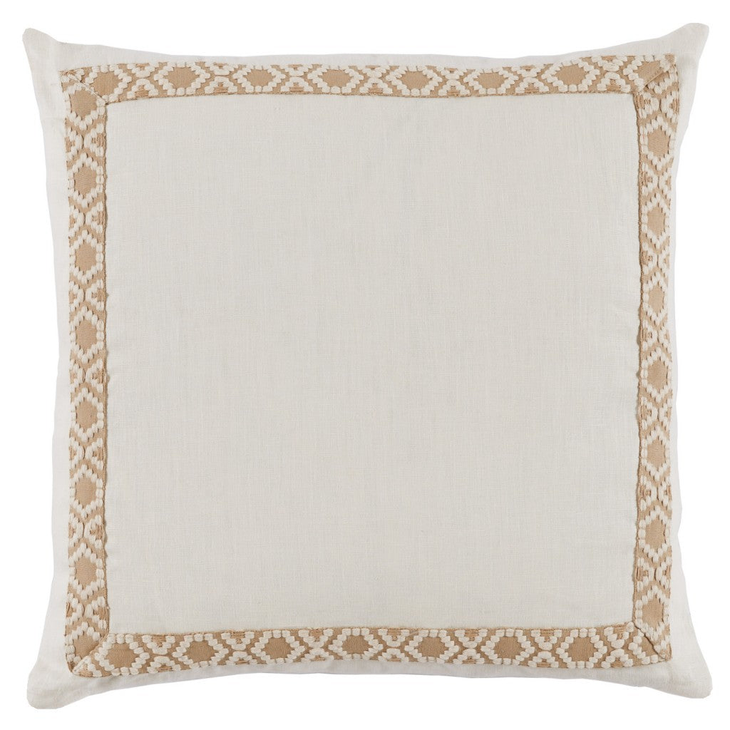 Eggshell Linen with Tan Tape Pillow