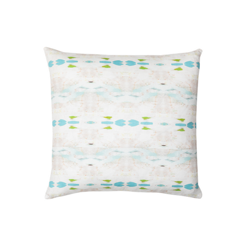 Flower Child Blue Linen Cotton Pillow