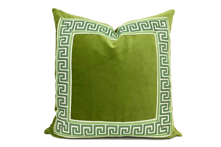 Green Pillow with Green Greek Key Trim