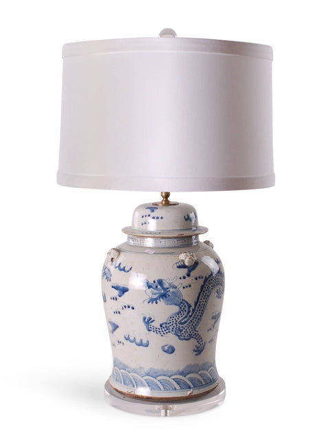 Blue and White Dragon Ginger Jar Lamp