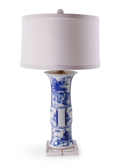 Blue and White Carved Beaker Lamp