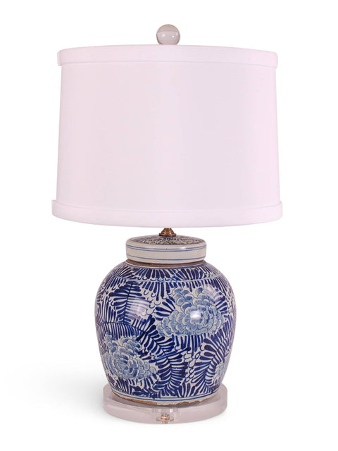 Blue and White Palm Floral Jar Lamp