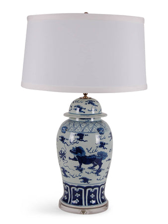 Blue and White Foo Dog Jar Lamp
