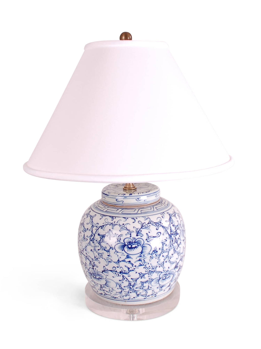 Blue and White Floral Jar Lamp