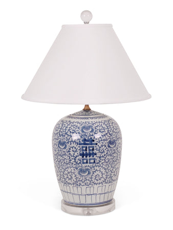 Blue and White Double Happiness Jar Lamp