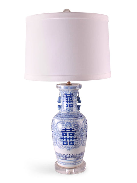 Blue and White Double Happiness Vase Lamp