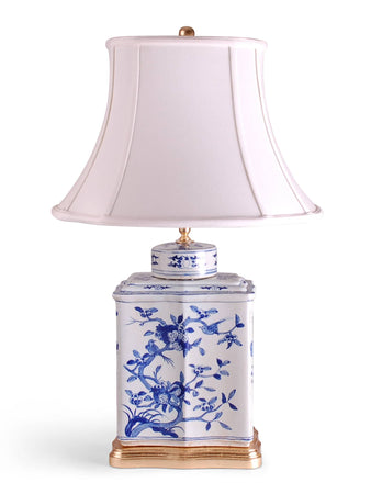 Blue and White Bird and Flower Tea Caddie Lamp