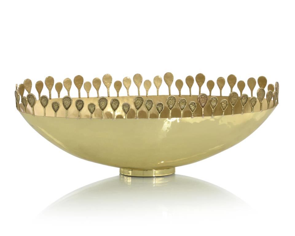 Polished Brass Oval Crown Bowl