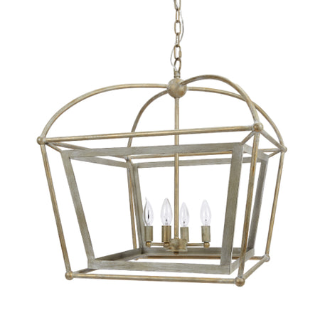 Providence Lantern with Distressed Silver and Gold Finish