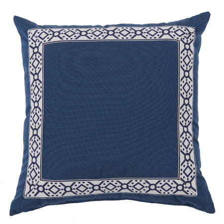 Outdoor Harbor Pillow with Navy Print Tape