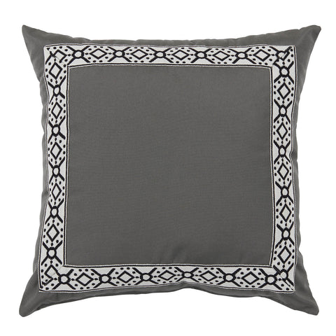 Outdoor Pewter Pillow with Black Print Tape