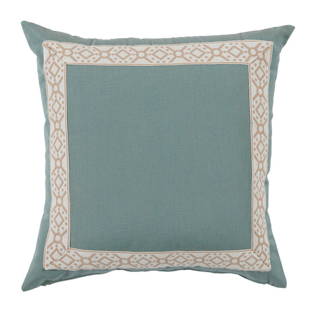 Outdoor Aqua Pillow with Camel Print Tape