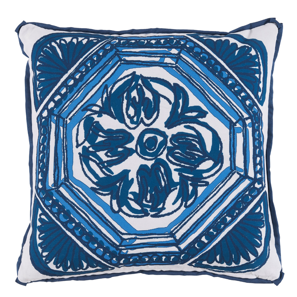 Outdoor Reversible Harbor Blue Foral Pillow