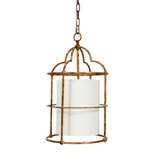 Daniella Gold Penant with White Linen Barrel Shade