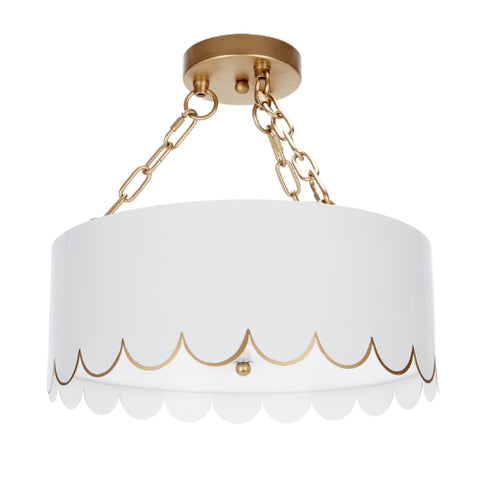 Eloise Glossy White and Gold Ceiling Fixture