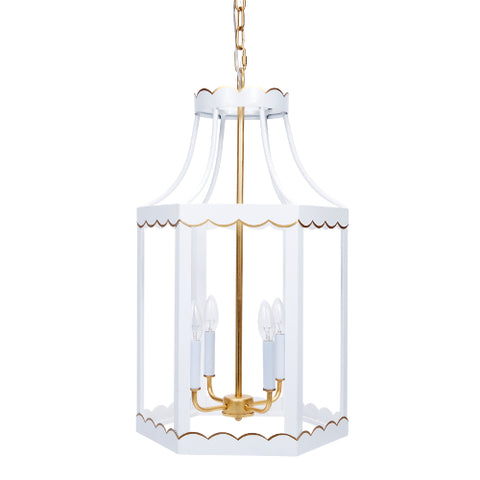 Eloise Glossy White and Gold Lantern