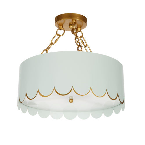 Alys Whythe Blue and Gold Scalloped Ceiling Fixture