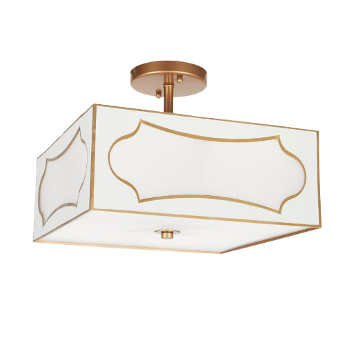 Gloss White and Gold San Simeon Ceiling Mount Fixture