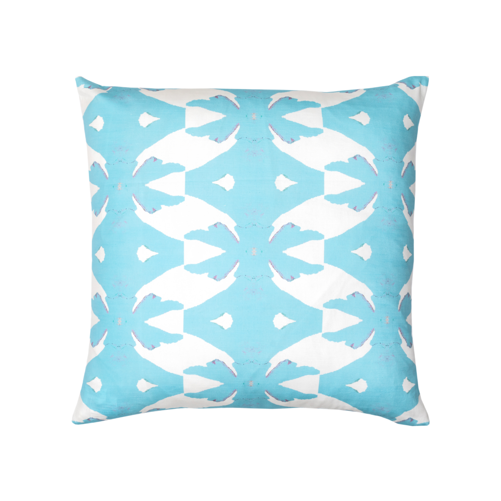 Palm Blue Linen Cotton Pillow
