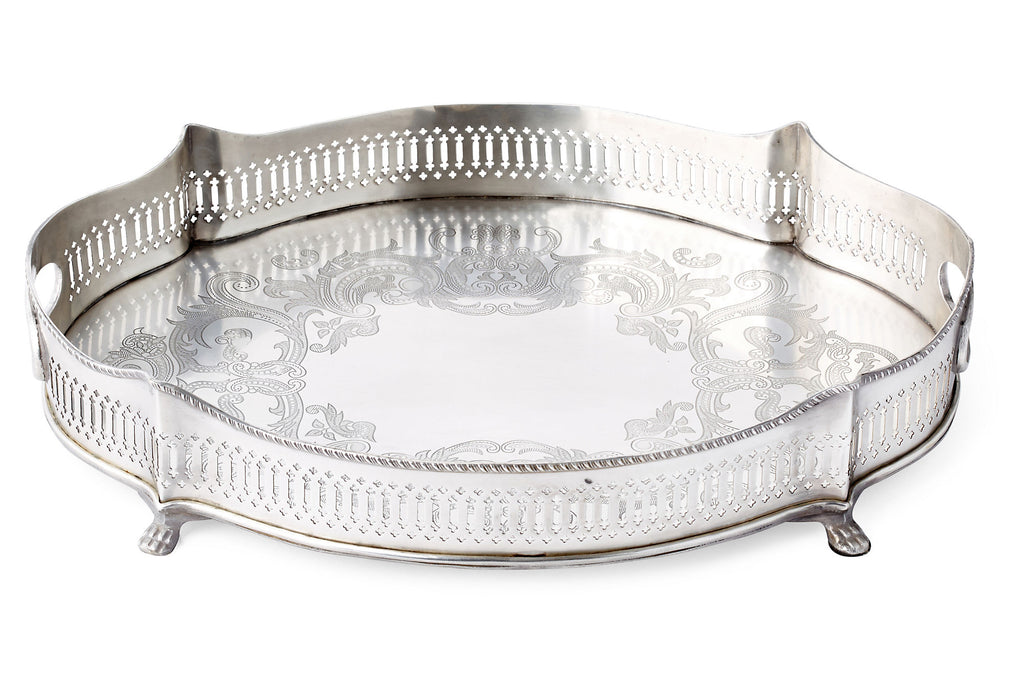 Antique Silver Oval Chippendale Pierced Gallery Tray