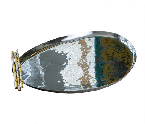 Nickel/Gold Bamboo Oblong Tray
