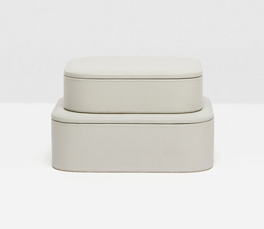 Dozza Light Gray Large Accent Boxes, Leather