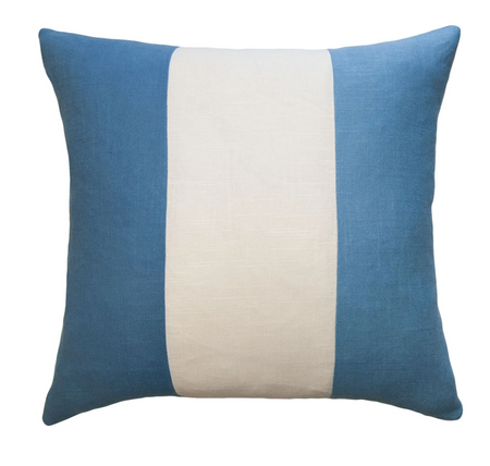 Savvy Hue Chambray with Ivory Band Pillow