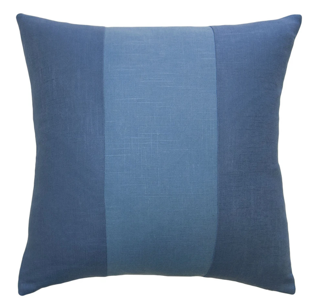 Savvy Hue Chambray with Denim Band Pillow