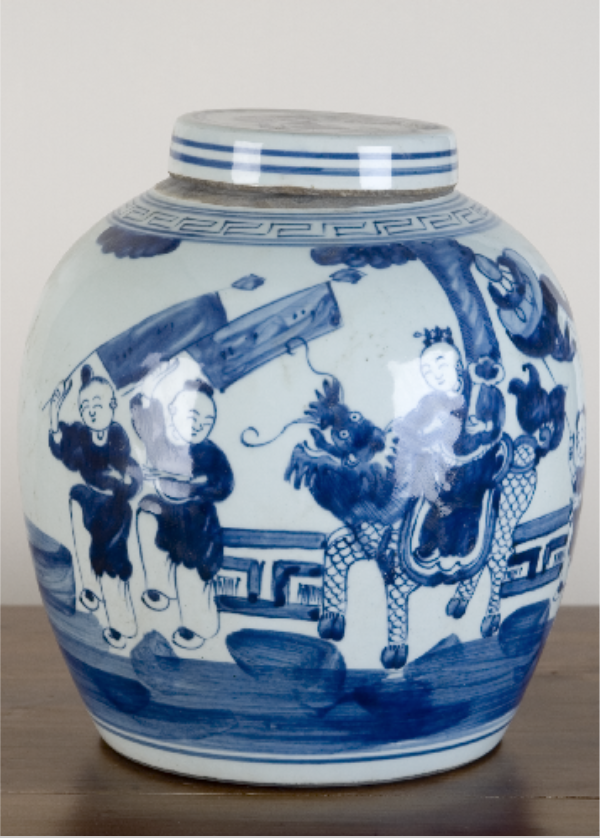 Blue and White Bulb Lidded Jar