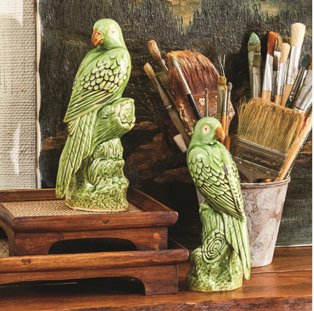 Tropical Green Parrot Sculptures (Set of 2)