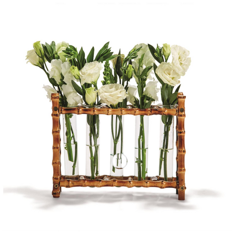 Natural Bamboo Vase Includes 5 Glass Tubes