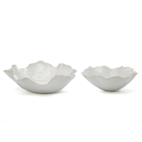 White Free Form Bowls (Set of 2)