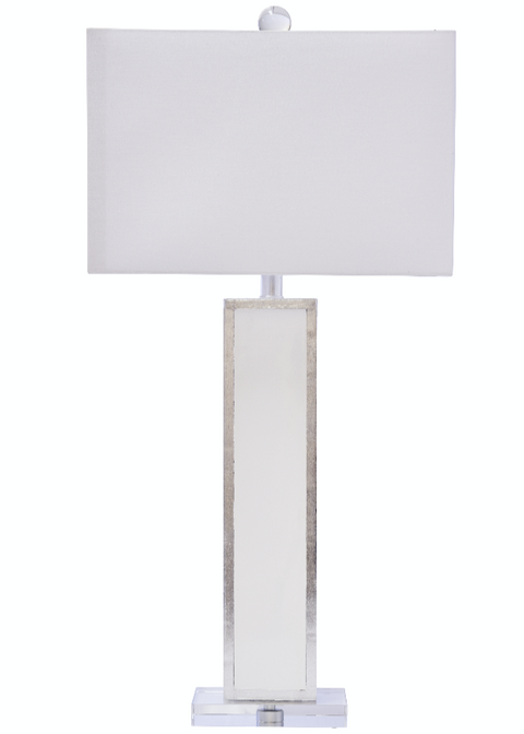 Blair Table Lamp, White/Silver