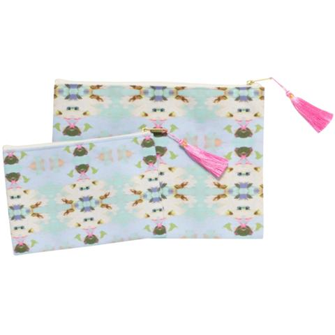 Summer Garden Light Blue Tassel Pouch