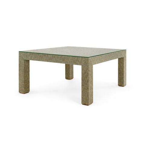 Valentina Grasscloth Coffee Table in Slate Gray
