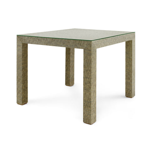 Valentina Grasscloth Game Table in Slate Gray