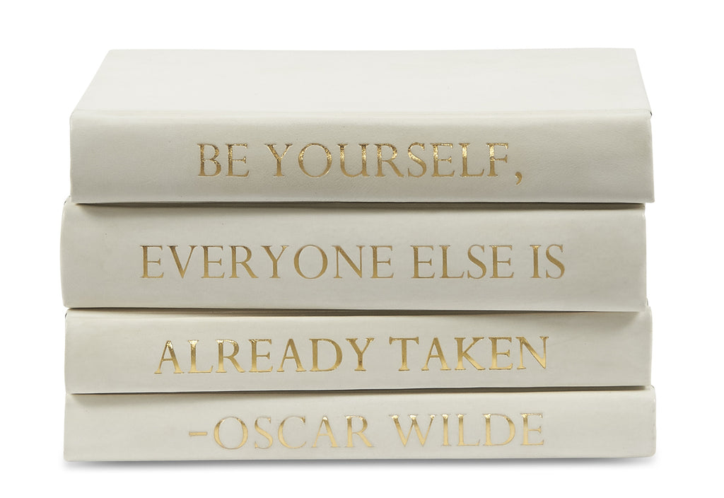 Stack of Four Books White Leather - Wilde Quote