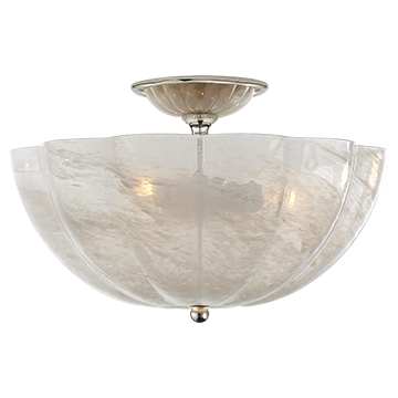 Rosehill Semi-Flush with White Strie Glass