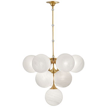 Cristol Tiered Chandelier with White Strie Glass