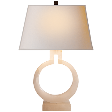 Ring Form Small Table Lamp in Alabaster with Natural Shade