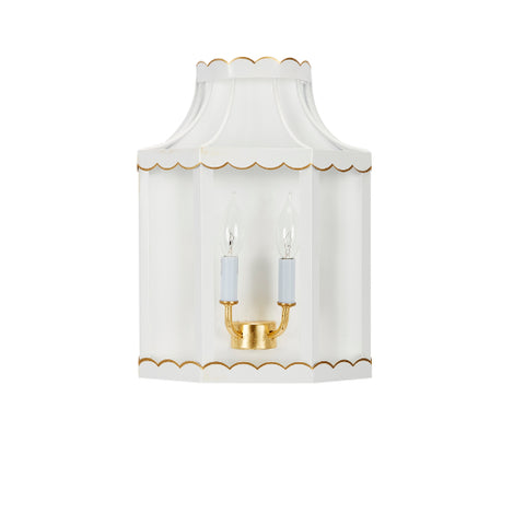 Eloise Glossy White and Gold Sconce