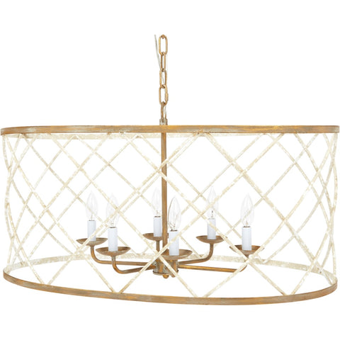 Open Weave French White and Gold Oval Chandelier