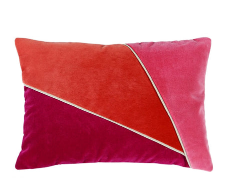 Color Blocked Blossom/Tangelo/Coral Velvet Lumbar Pillow